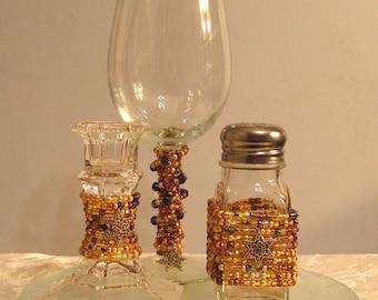 Gold Beaded Havdalah Set