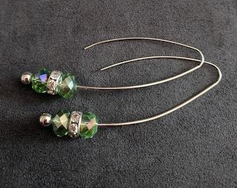 Wire Earrings, Slide Wire Earrings, Dangle Wire Earrings, Peridot Green Earrings, Gift for her.