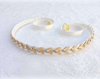 Ivory elastic waist belt. Gold leaf belt. Grecian belt. Skinny belt. Dress belt. Thin belt. Greek belt. Rhinestone belt. Bridal belt.