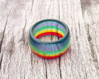 Rainbow ring, Gay pride ring, Equal rights, Color ring, Ring color rainbow, Rainbow resin ring, Rainbow jewelry, pride jewelry