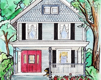 "Custom Home Portrait, 11"" x 14"", with Pets, by me, Artist Robin Zebley, Great Christmas Gift Idea Gift Certificate"