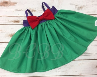 Princess Ariel Dress, Ariel Colors,  Toddler Dress, Halloween Costume, Dress Up, Princess Play Dress Purple Green Any Princess