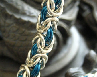 Chainmaille Bracelet Kit Pacific Blue and Non Tarnish Silver Byzantine Weave