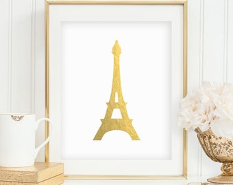 Gold Foil Eiffel Tower Print Gold Eiffel Tower Decor Minimalist Print Paris Decor Printable Wall Print French Decor INSTANT DOWNLOAD 0073
