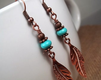 Antique Copper Howlite Turquoise Feather Statement Dangle Earrings