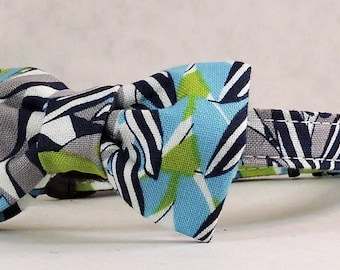 Cat Collar or Kitten Collar with Flower or Bow Tie  -  Blossom Plaid