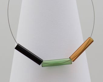 Glass statement necklace TUBES Triples