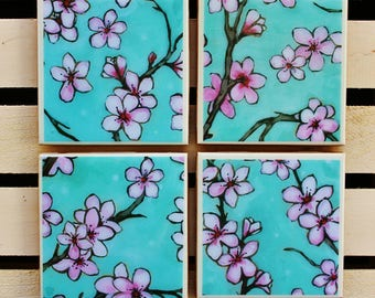 Shabby chic blue and pink floral coaster set