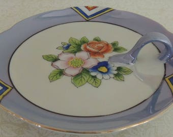 Vintage Blue Lusterware Nappy or Trinket Dish Made in Japan Hand Painted Floral and Art Deco Design Romantic Bedroom Ring Dish Nut Dish