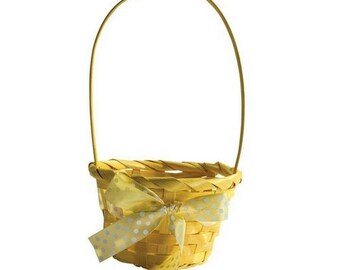 Small basket for Easter - basket in bamboo with polka dots Ribbon - choice of color