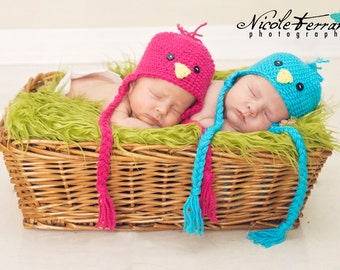 Gift for Twins - Baby gift for new twins - Twin Baby Bird Hats- Set of Two - Bird hats for twins - newborn twin hats