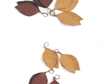 Leather feather earrings in copper brown and in light brown. Set of two pairs