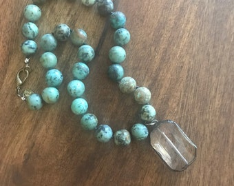 African Turquoise Hand Knotted Necklace with Soldered Pendant