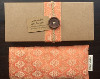 Lavender eye pillow with Indian silk cover - peach