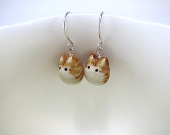 Orange Tabby Cat Earrings Cat Gift Ginger Cat Jewelry Tabby Cat Lover Gift Stripe Cat Animal Jewelry Cat Dangle Fat Cat Ceramic Jewelry