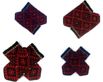 Red Black Mittens Hand Knitted Wool Mittens Red Black Gloves Knitted Wool Gloves Colorful Women's Gloves Knitted Patterned Latvian Mittens