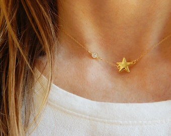 Star and diamond choker Gold star necklace Mothers necklace Dainty Gold necklace Gold choker Dainty choker necklace Star Mothers gift