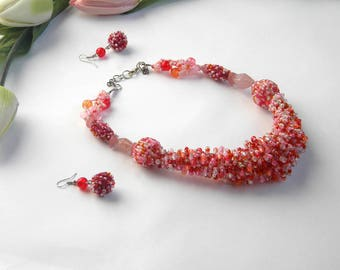 Peach Jewelry Seed Bead Necklace Peach Necklace Earrings Coral Jewelry Coral Necklace Peach Jewelry Sets