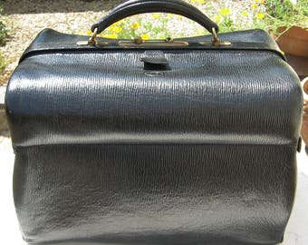 A Beautiful Vintage French Strong Medium Sized Black Leather Dr / Gladstone Bag / Weekender / Travel Case ~ Circa 1900's
