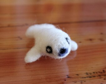 Needle Felted Baby Seal Pup - Ready to Ship - Cute Felt Baby Animal Miniature Art Figurine