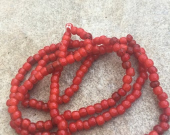 Antique white heart beads red various sized Really Old  26 inch strand