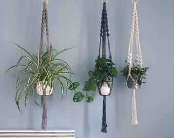 Double Spiral Macrame Plant Hanger / Hanging Planter / Natural Cotton, Black & Grey