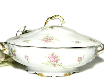 Antique C Ahrenfeldt Limoges Round Covered Serving Bowl Pink Roses