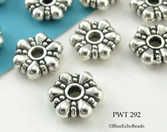 11mm Pewter Beads Large Flower Rondelle, Antiqued Silver (PWT 292) 15 pcs BlueEchoBeads