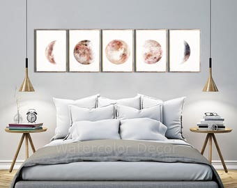Moon Phases Watercolor Art Prints #D - Set of 5 Lunar Phases Prints - Moon Chart Posters  - Mancave Decor  Modern Gift