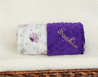 Baby Girl Flower Blanket Name Embroidery - Minky Gift Set Burp Cloths Newborn Purple Floral Petals with Sparkle 1st Crib Bedding