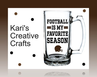 Football is my favorite season, Football mug, Football Beer Mug, Father's Day gift, Personalized mug, helmet, football glass