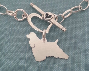 American Cocker Spaniel Chain Bracelet, Sterling Silver Personalize Pendant, Breed Silhouette Charm, Rescue Shelter, Birthday Gift