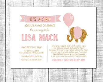 Cute baby girl shower invitation printable pink gold glitter with bring a book poem_ 62