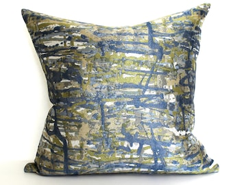 Blue Green Throw Pillow Cover Modern Decor Abstract Cushion Cover Decorative Pillow Euro Sham 26x26 24x24 22x22 20x20 18x18 16x16