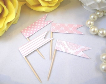 24 Pink and White Party Food Picks - Cupcake Flag Toppers - Wedding Flag Picks -  Bridal Shower - Baby Shower - Sweet Sixteen - Party Picks