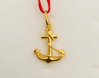 22k solid gold 3d anchor pendant  916 Gold