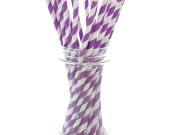 Purple Party Straws, Wholesale Paper Straws, Striped Party Straws, Paper Drinking Straws, 25 Pack - Purple Stripe Straws