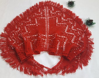 Gift Red Shawl Gift for her Wrap shawl Gift for mom Knitted shawl Lace shawl Triangular Shawl