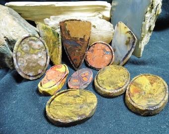 10 Lapidary Preforms oval, round, designer, morgan hill, montana moss,moss agate, fossil stone, poppy jasper