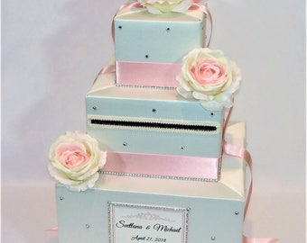 Blush and Ivory Card Box with Rhinestones-ANY COLORS