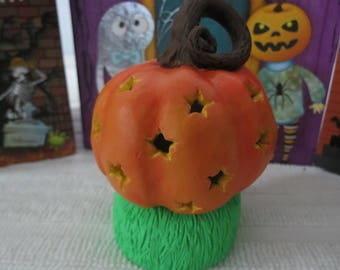 Hollow Pumpkin LED Tea light Handmade Original Polymer Clay by Shannon Ivins