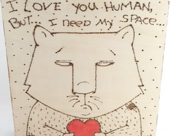 Whimsical Cat Illustration Original Woodburn Art on Wood Panel