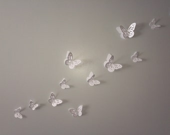 3D Wall Monarch Butterflies - White butterflies decal, wall decoration