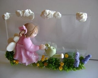 Handmade OOAK Clay Fairy Picture Frame