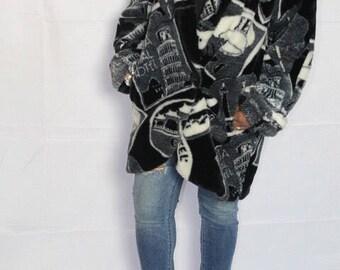 Vintage 1980s 1990s Graphic Pop Print Deco Donnybrook Faux Fur Coat Medium Keepers  Vintage