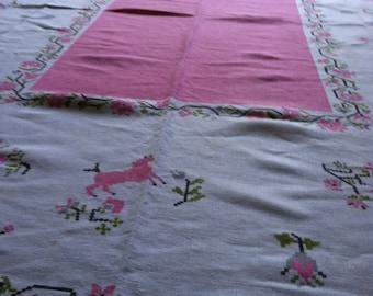 Vintage Tablecloth Pink Gray Moss Green Black Cross Stitch Vintage Kitchen Tablecloth