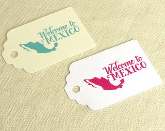 "Welcome to Mexico Tag - Welcome Bag Tag Mexican Wedding - Luggage Tag Destination Travel - Choose Color - 2.75"" x 1.75"""