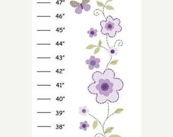 Personalized Garden Party Purple Canvas Growth Chart