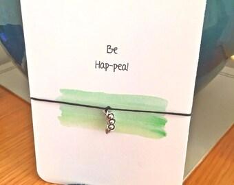 Wish String Bracelet Three Peas In A Pod Charm Be Hap-pea