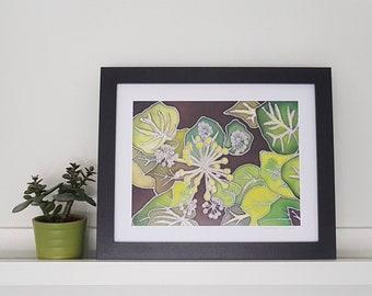Nature Inspired Green Ivy Silk Painting Print, Botanical Silk Painting Print, Handmade Art, Painting on Silk, Ivy Leave Design, Wall Art